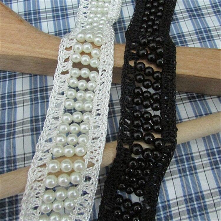 Nieuwe collectie zwart/wit kralen kant versieringen kralen gehaakte lace trimmen jurk kralen kant trim voor kraag, Mouw manchet, Rokken
