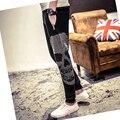 2016 Novos Homens Coreano Harem Pants Magros primavera calças lápis lazer Mens crânio perfuração quente calças SWEATPANTS