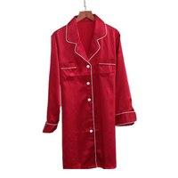 Sexy Red 100% silk sleepdress women noble nightwear gown High quality natural silk long sleeved silk home dress women sleepwear