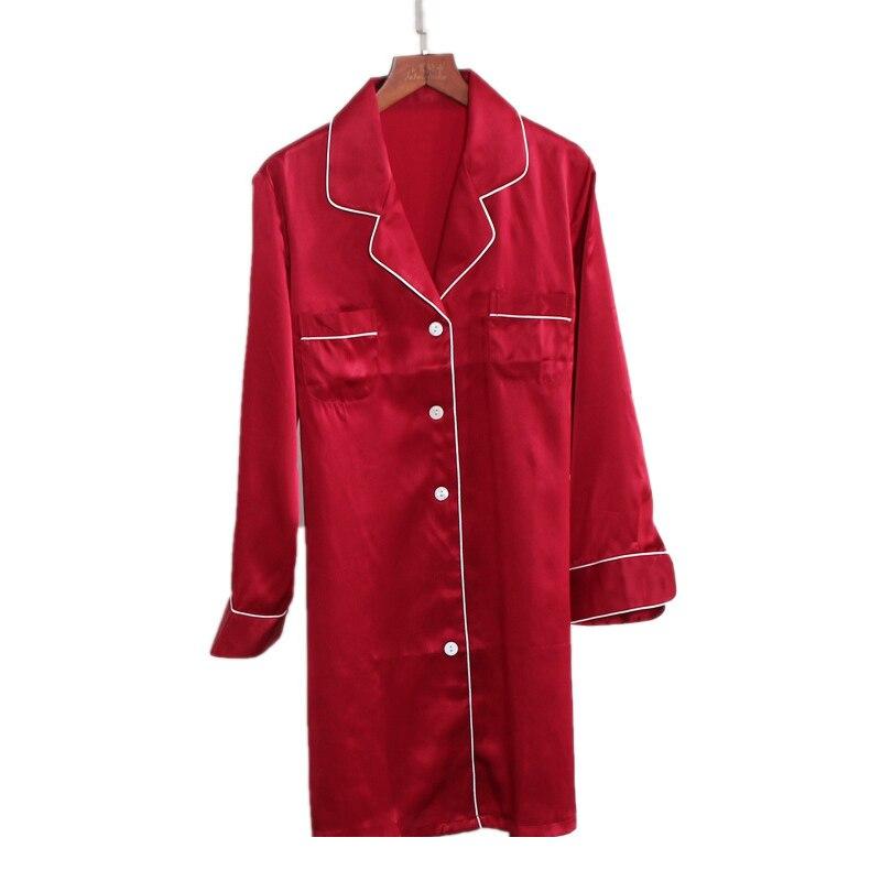 Sexy Red 100% silk sleepdress women noble nightwear gown High quality natural silk long-sleeved silk home dress women sleepwear