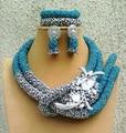Cielo Azul de Plata Chunky Beads Africanos Nigerianos Joyería de La Boda Establece Sistemas de la Joyería de Moda de Las Mujeres Del Nuevo Envío Libre WD924