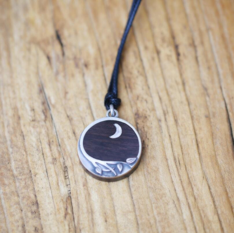 Collier pendentif rond en argent Sterling 990 fait à la main en bois de santal (SYF)