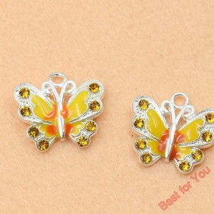 Image 3 - Mixed Silver Plated Enamel Crystal Butterfly Charms Pendants For Jewelry Making Diy Handmade 50pcs