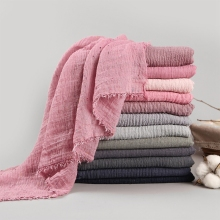 LARRIVED Bubble Plain Scarf/Cotton Scarf Fringes Women Soft Hijab Popular Muffler Shawls Big Pashmina Wrap Scarves 10color