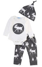 newborn summer Autumn baby boy clothing set Hat+Romper+Pant 3Pcs baby Boys Girls Cartoon frog spotted deer printed Kids suits