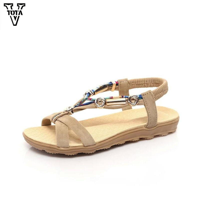 VTOTA Summer Bohemia Shoes Woman Casual Women's Sandals Flats Sandals Women Peep Toe Flat For Women Beaded Zapatos Mujer LGQY03 vtota summer shoes woman platform sandals women soft leather casual peep toe gladiator wedges women shoes zapatos mujer a89