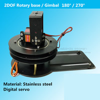 DIY stainless steel 2DOF Rotary base / Gimbal 180 degrees / 270 degrees for robotic arm / FPV drone track antenna ground station