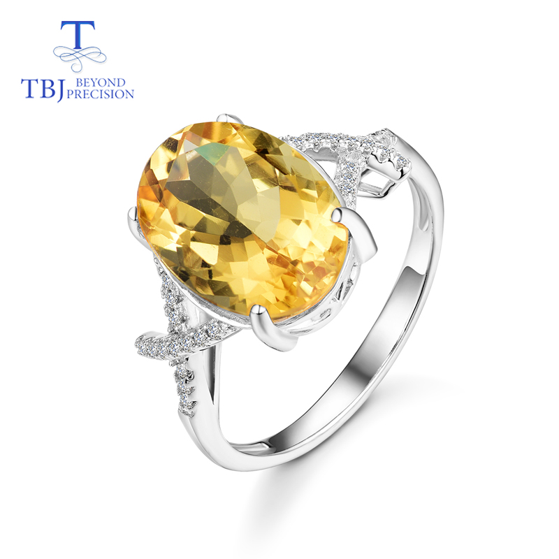 TBJ new design Citrine Rings natural oval 10 14mm gemstone 925 sterling silver simple style fine