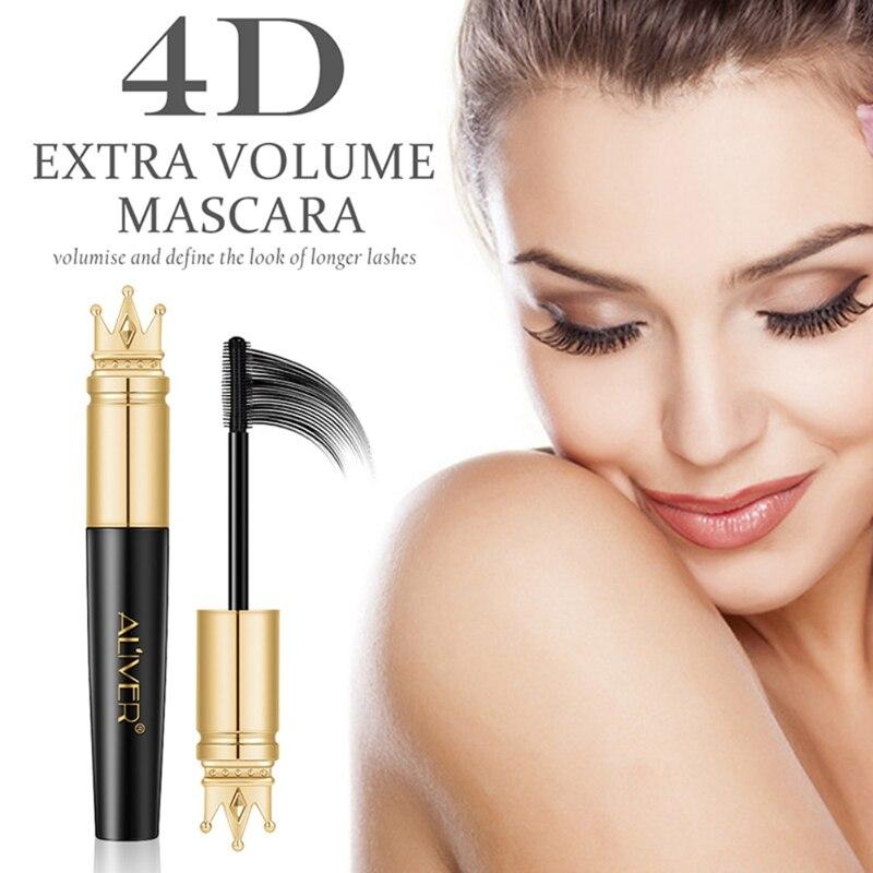 ALIVER Crown Kopf 4D Mascara Langen Dicken Curling Wasserdicht Nicht Blühenden Verschlüsselung Natürliche Lang Anhaltende Schönheit Make-Up Produkt