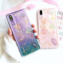 лучшая цена For huawei P20 lite P20 Pro mate 10 lite honor 8 9 10 case glitter transparent space planet soft silicon phone bag Ritozcase
