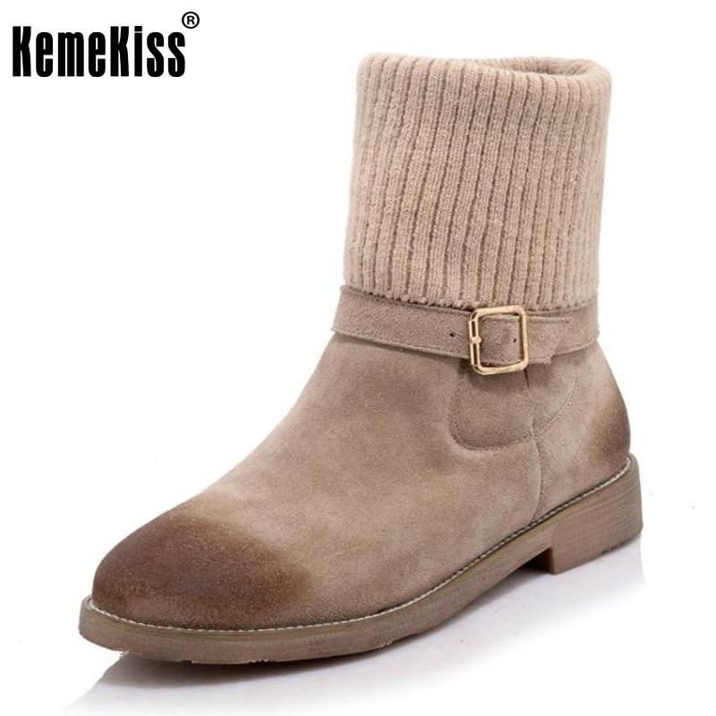 KemeKiss Size 33-41 Women Genuine Leather Half Short Boots Flat Boots Patchwork Warm Fur Winter Shoes Short Botas Women Footwear