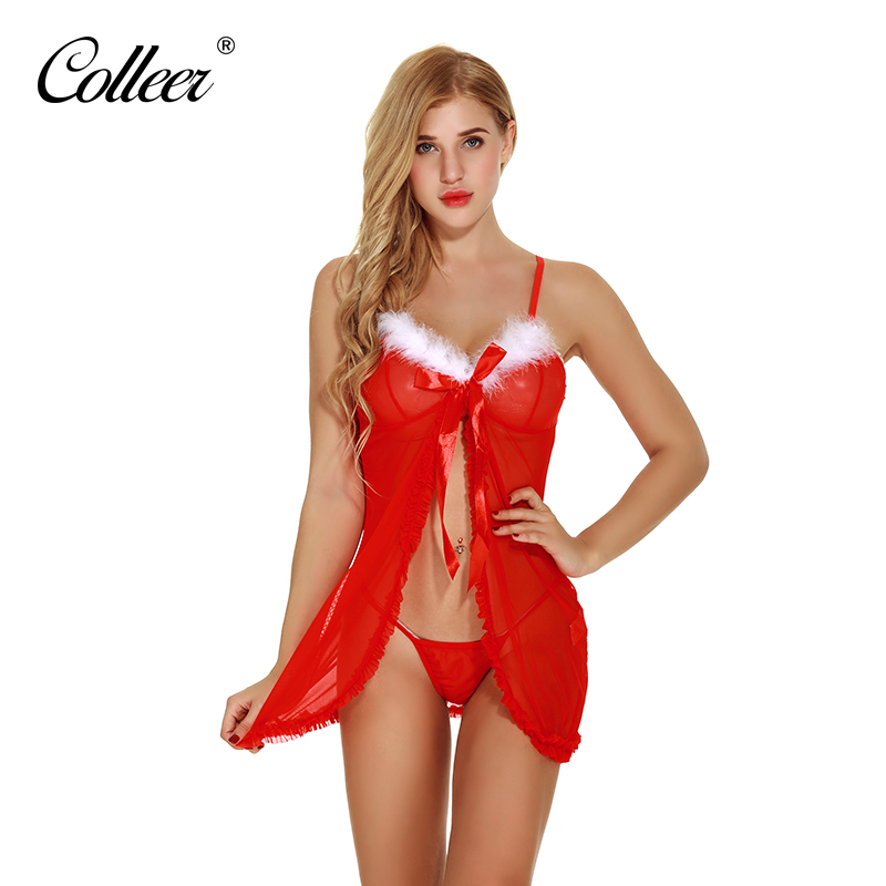 Colleer Women Sexy Lingerie Dress Christmas Babydoll Dress Lace Trim