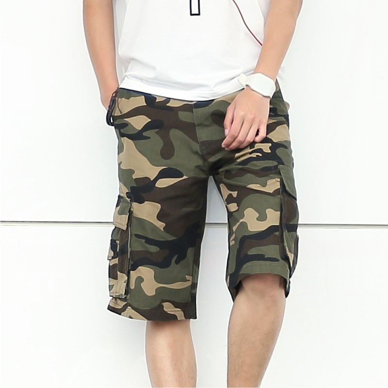 2017 spring and summer shorts men male Camouflage cargo shorts knee length casual shorts