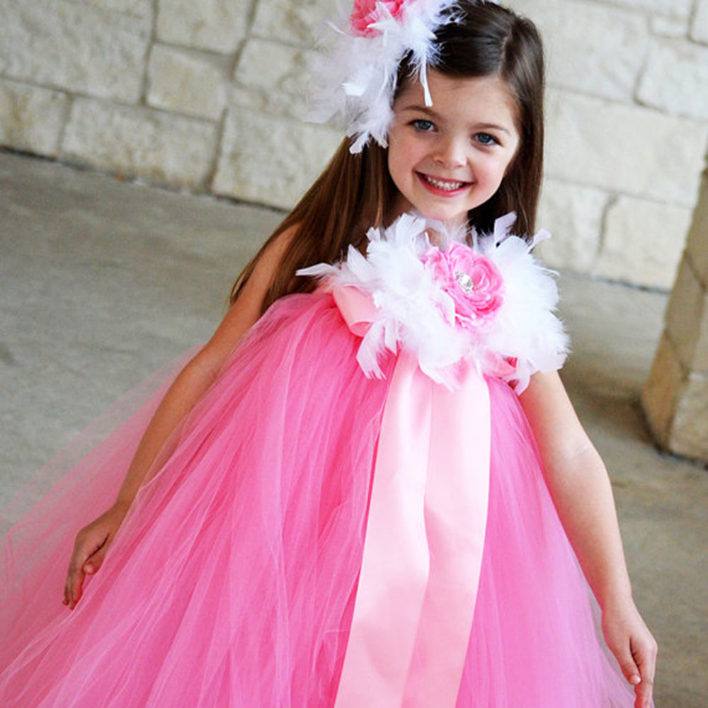 Ivory Feather Flower Girl Wedding Vestido Tutu Dress Pink kids dresses for girls mother and daughter clothes With Headbands цены онлайн