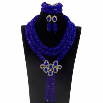 2017 Latest Charming Nigerian Wedding African Beads Jewelry Set Royal Blue Crystal Beads Jewelry Set Free Shipping HX887