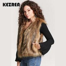 7e7eff5b84b Kezrea Bont Vest Jas Luxe Faux Vos Warme Vrouwen Jas Vesten Winter Fashion  Furs vrouwen Jassen Jas Gilet Veste hoge Kwaliteit
