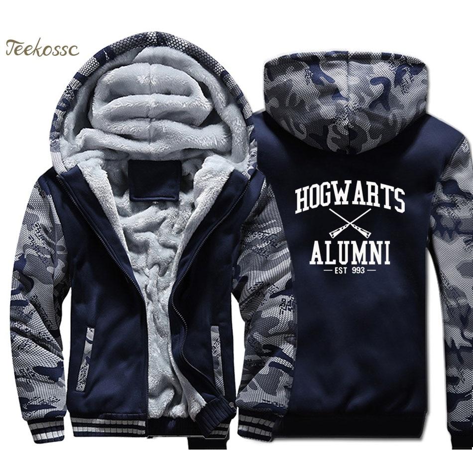 Hogwarts Jacket Alumni Inspired Magic Hoodie Men Swag American Apparel Harajuku Sweatshirt Winter Thick Fleece Warm Zip up Coat