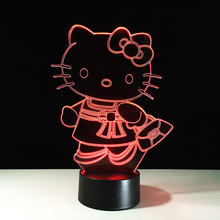 Hot Hello Kitty 3D three-dimensional remote control or touch night light new cartoon night light LED table lamp