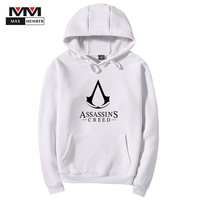 XS 3XL Unisex Assassins Creed Letter Logo Print Cap Sportswear Winter Warm Outerwear Men Sweatshirt Coat