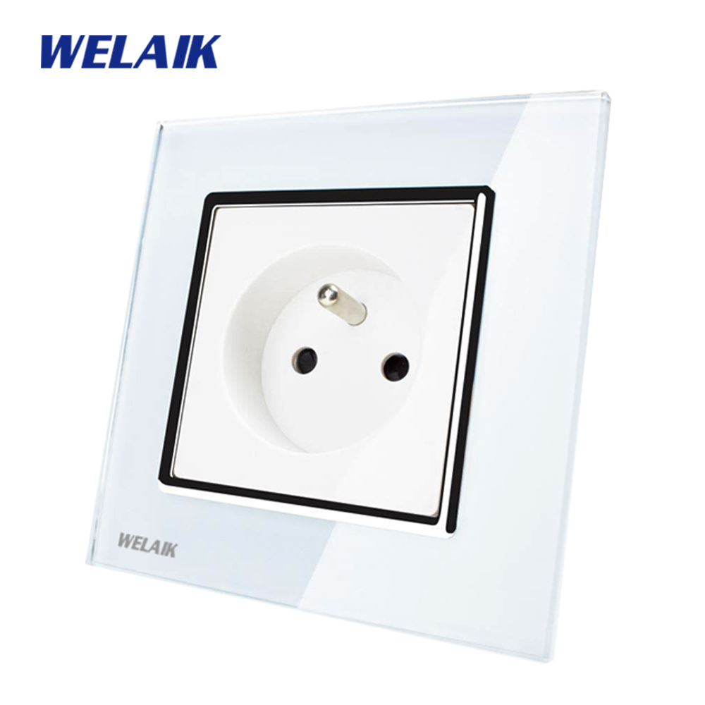 WELAIK Brand Manufacturer Glass Panel Wall Socket Wall Outlet White Black France Standard Power Socket AC110~250V A18FW/B rainbo brand free shipping wall power socket new outlet france standard crystal glass panel ac110 250v 16a wall socket a18fw b