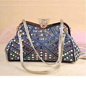 Image 2 - iPinee Ladies Handbags Women Fashion Bags Brand Design Women Shoulder Bags Denim Rhinestones Decorative