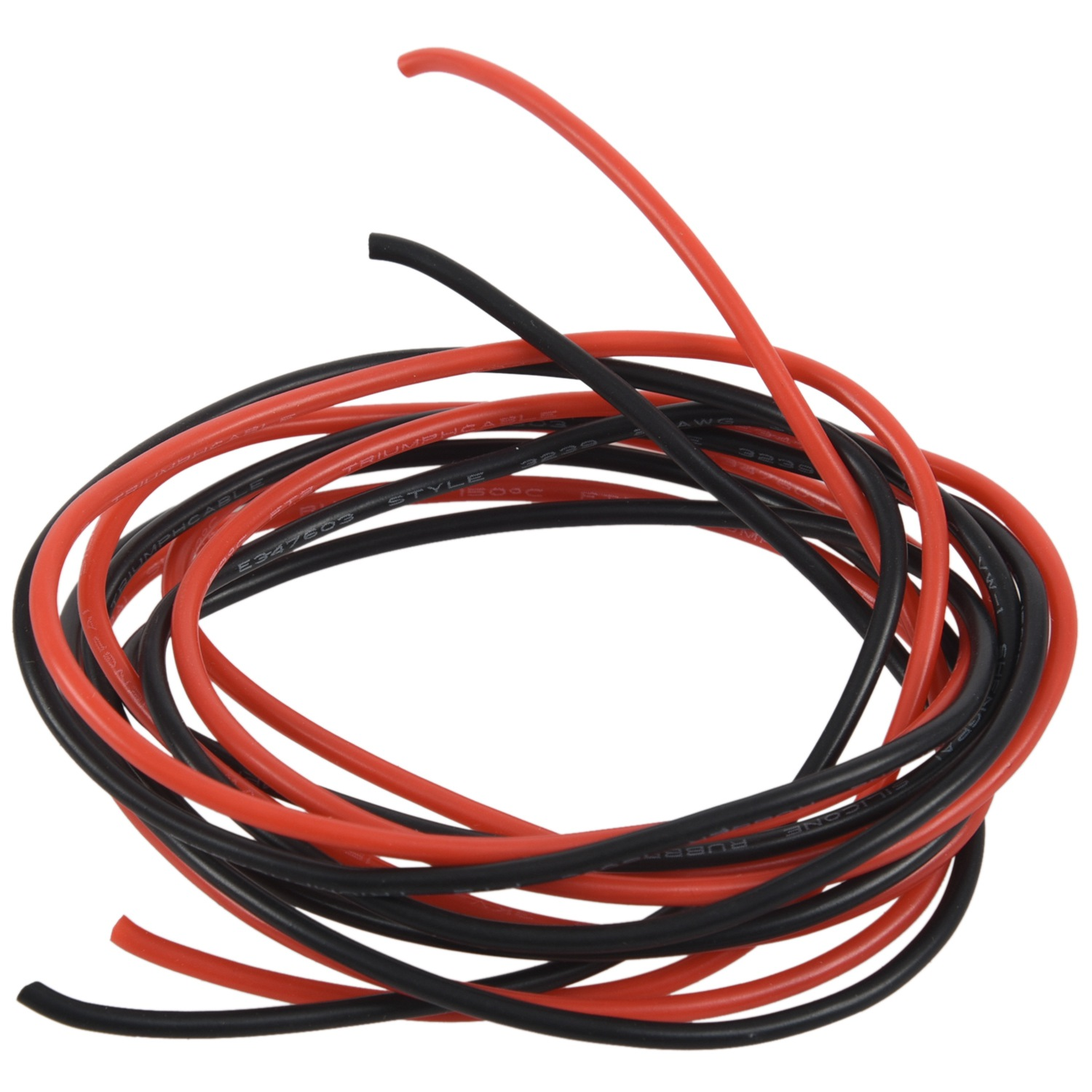 2x 1M Long Red+Black <font><b>Silicone</b></font> Cable <font><b>Wire</b></font>, <font><b>10AWG</b></font> image