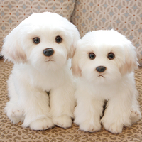 Cute Small White Bichon Frise Puppy Stuffed Dog Plush Toy Simulation Pet Fluffy Baby Doll Birthday Gift for Children Photo Prop