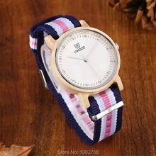 Uwood Mujeres Blanco Madera de Arce Reloj Banda de Nylon de Moda Casual Reloj De Madera Con Multicolor de Rayas Banda