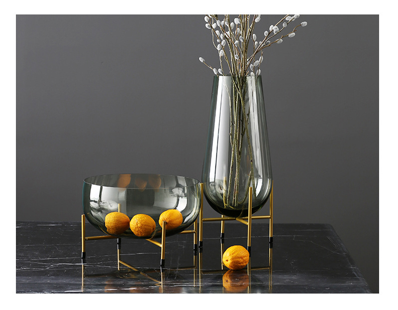 Simple Green Glass Vase Figurines Craft Creative Vase Modern Big Fruit Tray  Miniature Home Decoration Accessories Birthday Gifts|Figurines & Miniatures|  - AliExpress