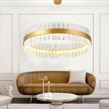 Модная хрустальная люстра, светодиодный, креативный, роскошный, для виллы, потолочный светильник, для гостиной, лампа, круглая, 60 см, 80 см, для столовой, лампа