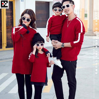2019 Kid Parent child Sweaters Man&Boy Family Matching Outfits Knitwear,Women&Girl Pleated Chiffon Stitching O Neck Knitted Tops