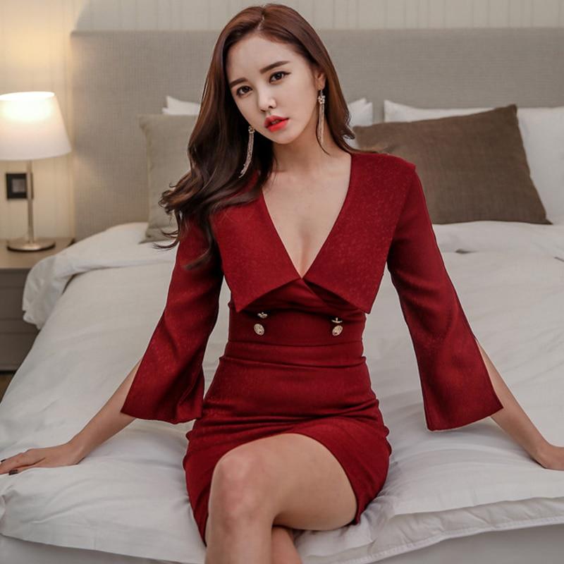 2018 Autumn Women Cloth V-Neck Flare Sleeve Bodycon Mini Vestidos High Waist Pencil Red Sexy Party Dresses