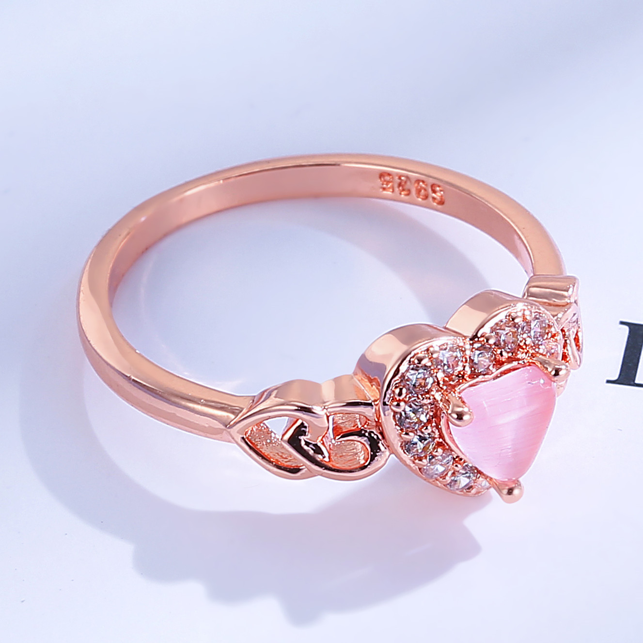 European New Fashion Pink Zircon Crystal Heart Shape Women Ring Rose Gold/Silver Colors Wedding Anniversary Engagement Ring anel