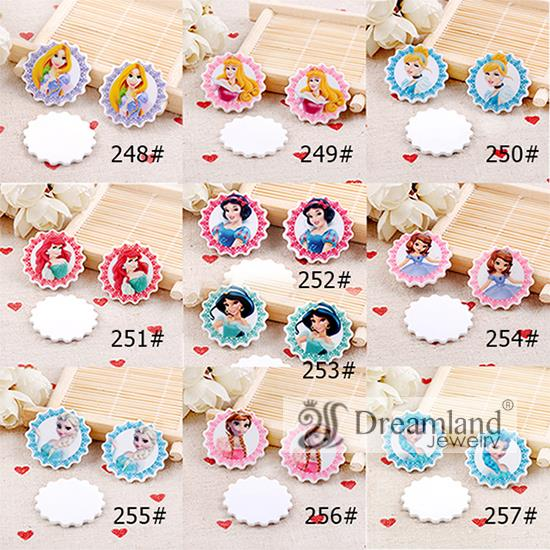 50pcs/lot 31MM New Arrival fashion princess flat back cartoon planar resin for home decoration DIY accessories 10 styles mixed