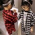 2-7Y Niñas Tee Shirts Niños de Manga Larga Comprueba Plaids Tops Traje