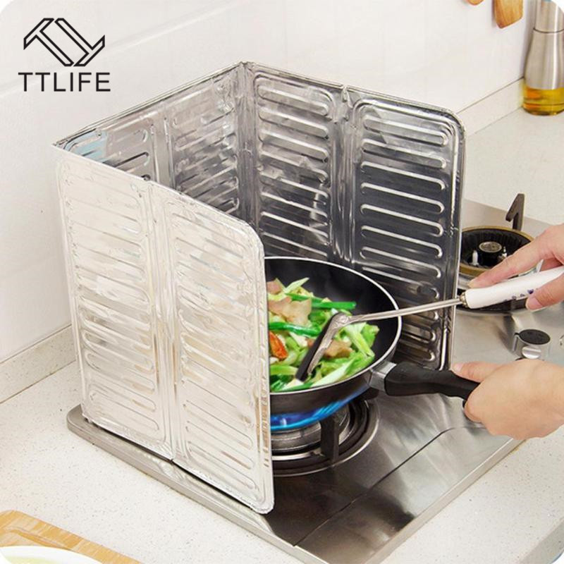 TTLIFE Kitchen Oil Aluminium Foil Plate Gas Stove Splatter Screens Cooking Insulate Splash Proof Baffle Tools