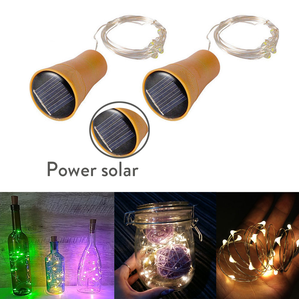 1M 10LED Solar Powered Wine Bottle Cork Shaped LED Copper Wire String Outdoor Light Garland Lights Festival Outdoor Fairy Light