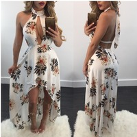 Top quality new 2017 bandage dress ladies strapless club dress novelty backless maxi long print dresses SMR8502