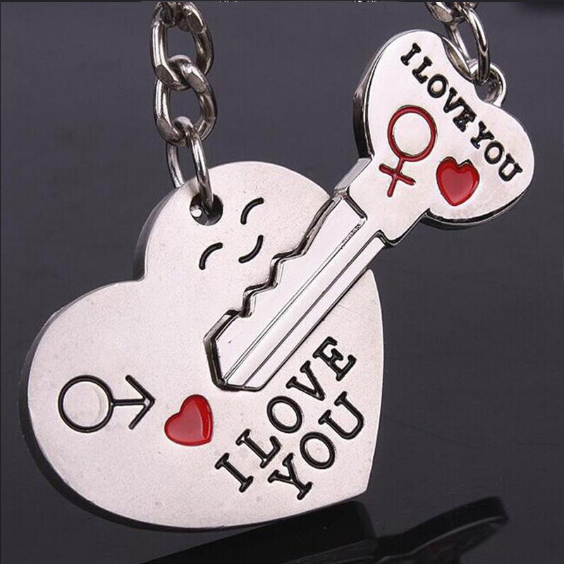 1 Pair Couple I Love you Keychain Heart Key Silver Plated Lovers Love Key Ring Valentine's Day Souvenirs Gif