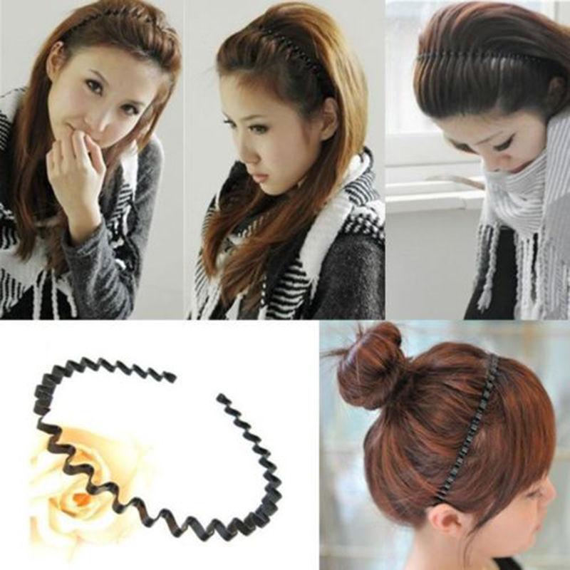 Men Women Unisex Black Wavy Hair Head Hoop Band Sport Headband Hairband Awesome