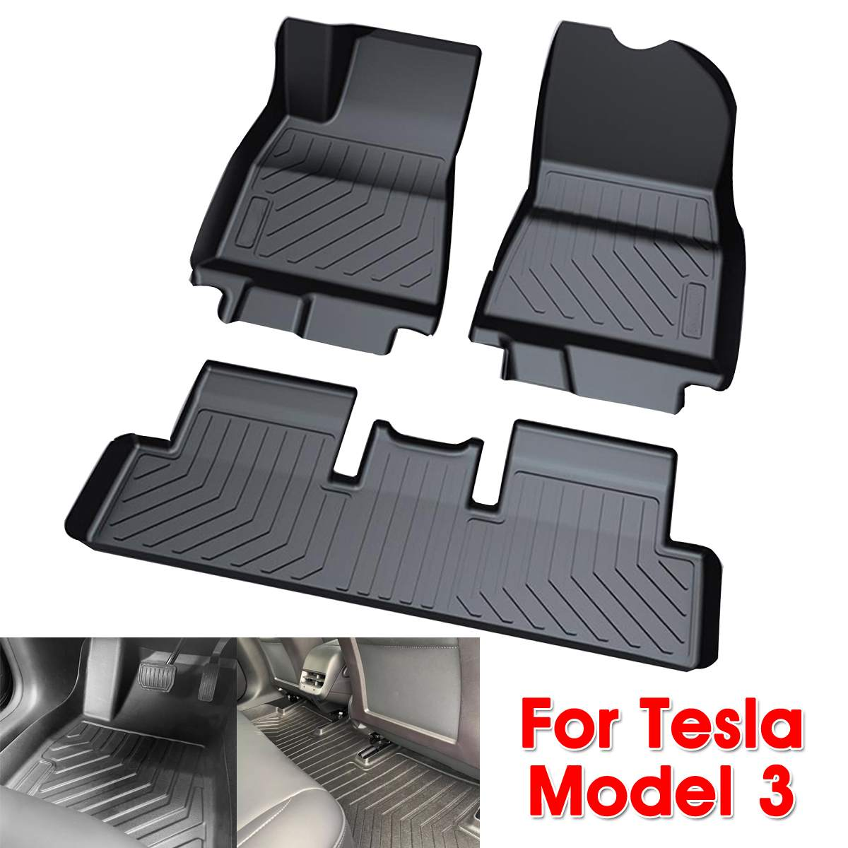 Audew 3 pièces TPO avant et arrière noir tapis de sol de voiture personnalisé ajustement tous temps tapis de sol couverture pour Tesla modèle 3 imperméable à l'eau Durable