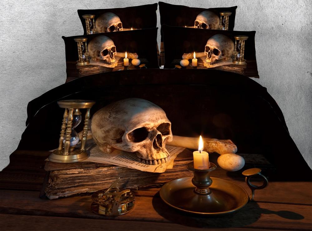 4pcs Hd Digital Sheets Cool Unique 3d Skull And Candle