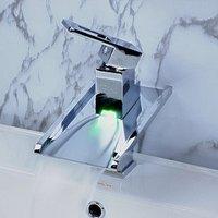 Цвет Изменение светодиодный Водопад Ванная комната раковина кран и бассейна кран смеситель + 100% гарантии