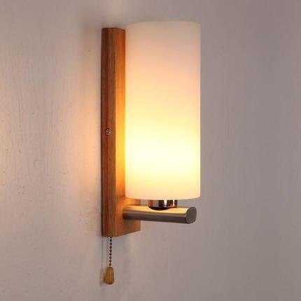 ФОТО New creative fashion wood wall lamp vanity mirror lights Nordic stairs Light with glass lamp shade E27 led bulbs