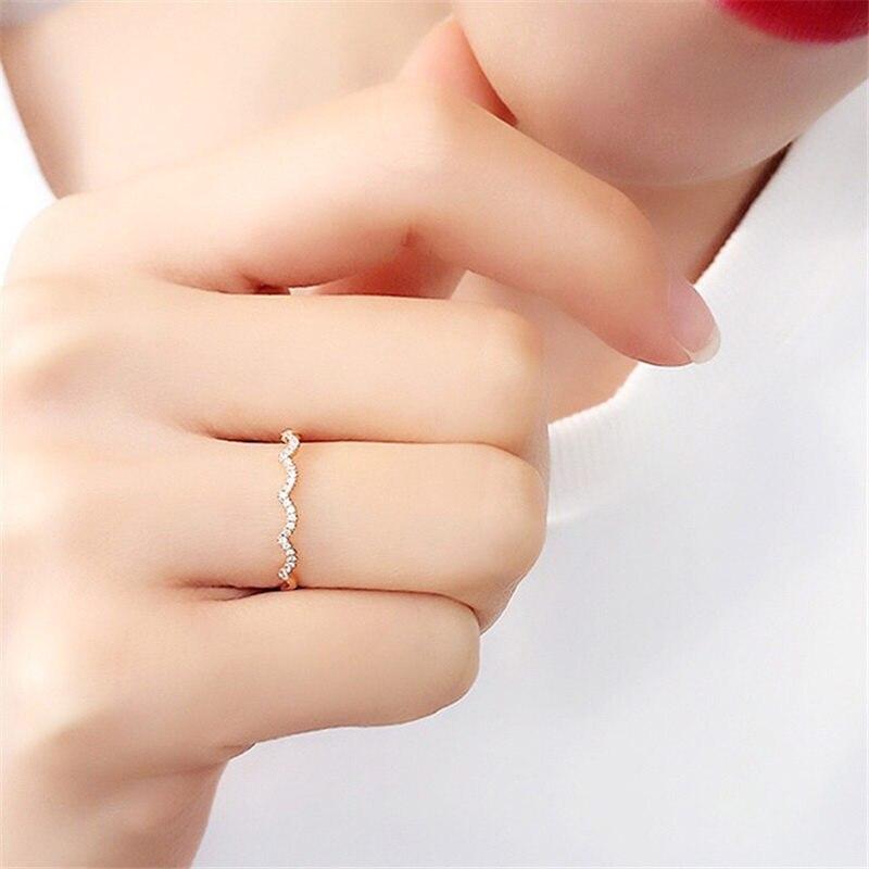 Aazuo 100% 18 K or Rose véritable diamant unique ligne ondulée forme anneau pour femme charme bijoux mode amour cadeau minuscule mince Au750 - 5