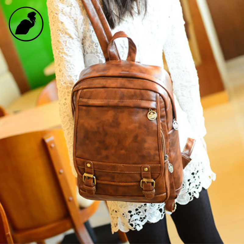ETONWEAG Famous Brands Leather Backpack Women Brown Vintage School Bags For Girls Travel Luggage Small BagPack Back To School