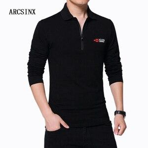 Image 2 - ARCSINX אופנה קוריאני פולו חולצת גברים Slim Fit מותג גברים של פולו חולצות בתוספת גודל 5XL 4XL 3XL שחור ארוך שרוול גברים של Polos