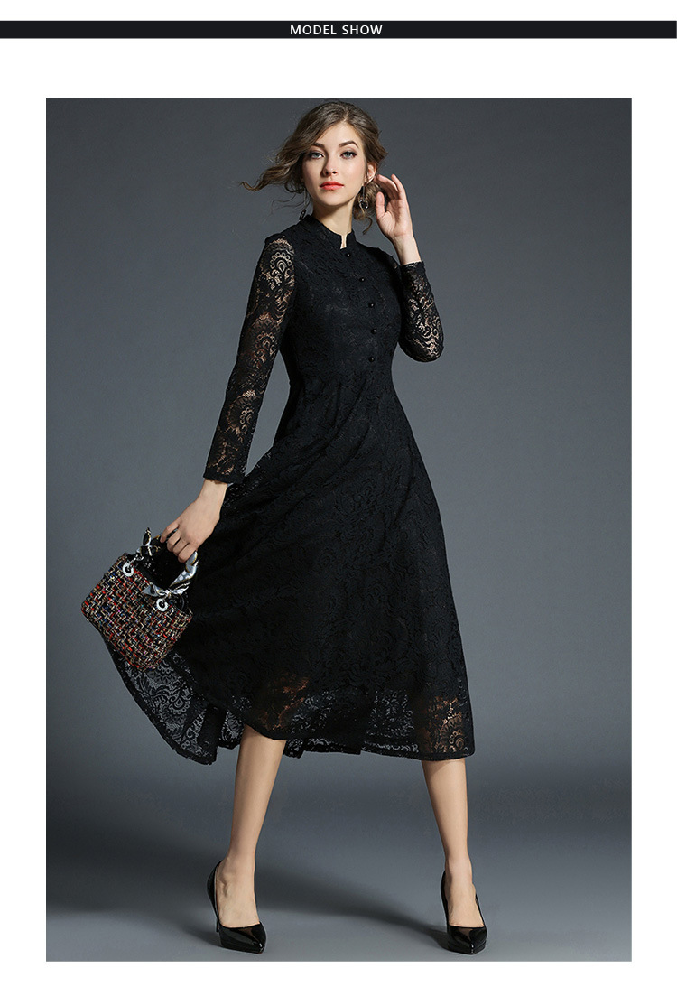 Stand Neck Long Sleeve Office Work Elegant Lace Dress 1