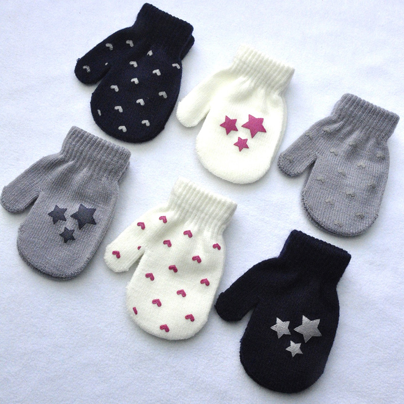 Dot Star Heart Pattern Mittens &Gloves Winter Soft Knitting Warm Boys Girls Gloves Kids Scratch Mitten