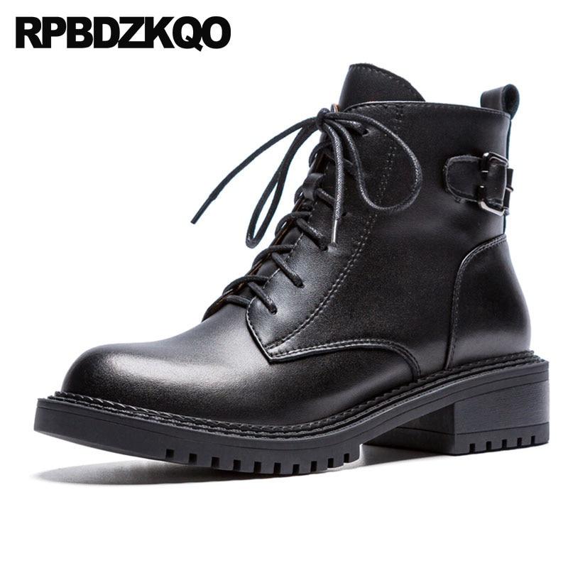 Up Militaire D'hiver Haute black Chaussons Combat En Chunky 2018 Chaussures Noir Cuir marron Véritable Fourrure Suede Daim Automne Dentelle Bottes Noir Femmes Qualité 4Iqddw7